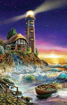 The Caretaker<br>Lighthouse<br>1000 piece Puzzle<br>Adrian Chesterman<br>SunsOut<br>Jigsaw Puzzle