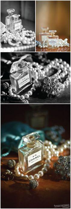 Vintage Chanel No. 5 perfume bottles.