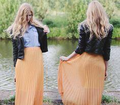 Orange maxi skirt (by Zuzi *) http://lookbook.nu/look/3522613-Orange-maxi-skirt