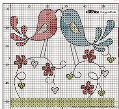 Hobby lavori femminili - ricamo - uncinetto - maglia: Schema Coppia di uccellini innamorati a punto croc...