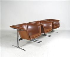 Geoffrey Harcourt; #042 Leather and Chromed Metal Chairs for Artifort, 1963.