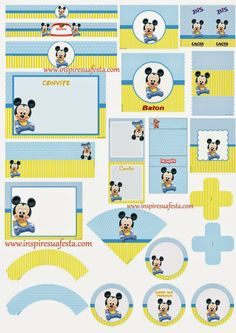 Mickey Baby Free Printable Kit.                                                                                                                                                                                 More Baby Mickey Mouse Cake, Festa Mickey Baby, Mickey Mouse 1st Birthday, Mickey Mouse Parties, Baby Mouse, Mickey Party, Boy First Birthday, Mickey Printables, Miki Mouse