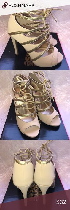 Charlotte ruse glee lace up peep toe heels Brand new in box size 8 Charlotte Russe Shoes Heels
