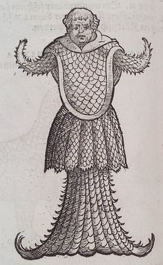 Mediumwoodblock  BookGesner. Icones Animalium. n.c. : Christof Froshover, 1560. Page 174.  Notesmerman reminiscent of the clergy  ThemeBestiary