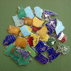 vintage enamel state charms collected every state I've lived in - now I need each Country I've visited !