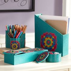 #Aqua Suzani Desk Accessories – PB Teen  -Note to self- make a magazine holder for paper, folders, and book things on my desk. This is what I've been looking for and I finally found my answer! Magazine holder!