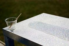DIY by isewcute... tutorial on how to glitter your own table!