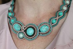 Soutache Necklace Ocean Wave by SoftAmethyst on Etsy, €56.00