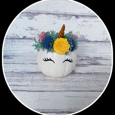 Unicorn Pumpkin with Sola Wood Flowers Unicorn Pumpkin, Sola Wood Flowers, Decorative Plates, Animal, Home Decor, Decoration Home, Room Decor, Animaux, Animals