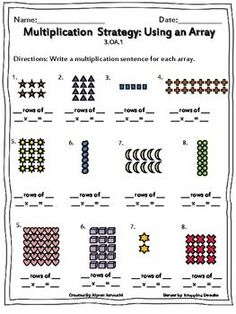 Multiplication: Using Arrays Worksheets Multiplication Worksheets, Kindergarten Math Worksheets, Math Resources, Teaching Math, Multiplication Problems, Math Activities, Array Math, Array Worksheets, Daily Math