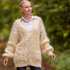 NEW Hand Knit Mohair Coat Ivory Sweater Cardigan Fuzzy V neck Jacket SUPERTANYA #SUPERTANYA #BasicCoat