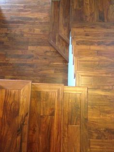 Open sided acacia hardwood staircase