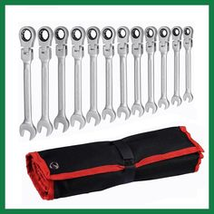 12pcs adjustable ratchet wrench set Flexible Head auto repair hand tools spanners a set of keys llaves herramientas D6104