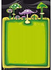 Un papier à lettre avec des champignons multicolores, à imprimer