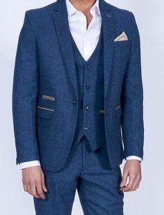 Dion Tweed Herringbone check 3 piece suit - Blue