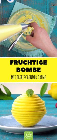 Fruchtige Bombe. Mit erfrischender Zitronencreme.  #lecker #rezepte #zitronen #zitronencreme #dessert Cantaloupe, Delicious Desserts, Nom Nom, Cocktails, Drinks, Cookies, Kitchen, Recipes, Cupcake Decoration