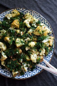 Roasted Cauliflower and Potato Salad with Lemon and Dill | An easy side salad that's bright and zesty - vegan, paleo, vegetarian, gluten free
