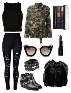 """""""Edgeyyy"""" by carlyniggons on Polyvore featuring WithChic, River Island, Leatherock, Prada, Steve Madden, Yves Saint Laurent, NARS Cosmetics, Marc by Marc Jacobs and Smashbox"""