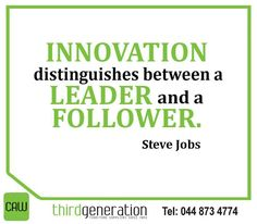 """ Innovation distinguishes between a leader and a follower."" -Steve Jobs #ThirdGenerationCAW #SundayMotivation Sunday Motivation, Distinguish Between, Steve Jobs, Innovation, Inspirational"