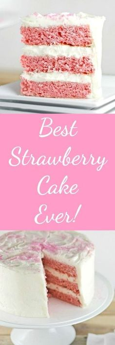 Best Strawberry Cake Ever RoseBakes This cake is dense enough to hold up to stacking and is a delicious, perfect dessert for any occasion. Strawberry Pudding, Strawberry Cake Recipes, Strawberry Ideas, White Strawberry, Strawberry Jello, Just Desserts, Delicious Desserts, Dessert Recipes, Valentine Desserts