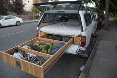 Adventure Truck Retrofitted a Toyota Tacoma with a bed and drawer system for climbing and adventuring. Adventure Truck Retrofitted a Toyota Tacoma with a bed and drawer system for climbing and adventuring. Auto Camping, Camping Diy, Truck Bed Camping, Camping Hacks, Camping Gear, Outdoor Camping, Camping Checklist, Camping Items, Camping Supplies