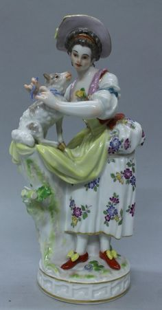 Meissen Figure Of Woman With Sheep - Jun 2013 Fine Porcelain, Porcelain Ceramics, Dresden, 10 Picture, Vintage Designs, Sheep, Old Things, Dolls, Bone China