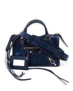 BALENCIAGA Mini City Leather and Ponyskin Handbag