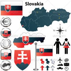 Buy Slovakia Map by on GraphicRiver. Vector set of Slovakia country shape with flags, buttons and icons isolated on white background. Bratislava, Information Graphics, Flags Of The World, Vector Graphics, Map Vector, Digital Portrait, Cartography, Geography, Decoration