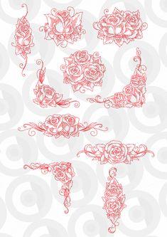 Redwork Roses