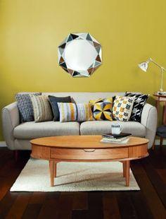 Retro yellow living room colour scheme  - living room design trends 2014, decorating a living room