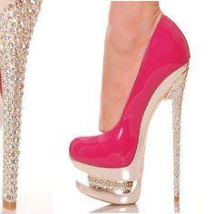 hot pink & crystal sexy high heel <3