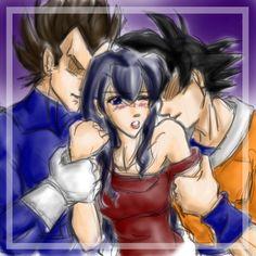 I like Kagome with Vegeta and Goku from Dragon Ball Z! :)