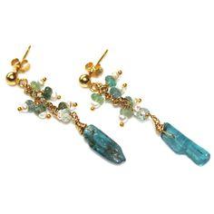 Blue Tourmaline Earrings Paraiba Tourmaline Dangle by FizzCandy, $55.00