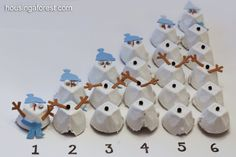 Egg cartons are a lifesaver! Here's a great tutorial on creating counting snowmen... but when it comes to Montessori cards and counters, your imagination is the limit when it comes to creating themed math materials!