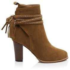 Tassel Suede Chunky Heel Short Boots (73 BAM) via Polyvore featuring shoes, boots, ankle booties, brown booties, suede ankle booties, brown ankle booties, suede booties i brown ankle boots