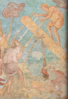 Sawing a board for the Ark. South wall. 1290 Upper nave of the Church of St Francis, Assisi, Italy.