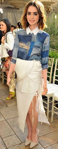 Lily Collins...a scarecrow and goddess made a dress. Poof! There you have it.