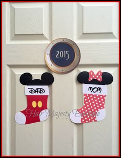 This is for 1 MAGNET! These are my one of a kind Mickey and Minnie Christmas Stocking Door Magnets.They are perfect for decorating your