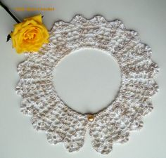 \ PINK ROSE CROCHET /: Pearl Necklace Collar - Crochet Collar