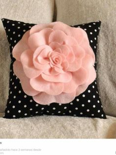 Pink Rose On Black and White Polka Dot Pillow 14 X 14 by bedbuggs from bedbuggs on Etsy. Saved to Pillows. Cute Pillows, Diy Pillows, Decorative Pillows, Throw Pillows, Cushions, Felt Flowers, Fabric Flowers, Do It Yourself Inspiration, Hot Pink Roses