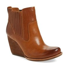 Women's Kork-Ease 'Verdelet' Wedge Bootie (€115) ❤ liked on Polyvore featuring shoes, boots, ankle booties, brown leather, brown wedge booties, brown cowgirl boots, ankle cowboy boots, brown cowboy boots and brown leather ankle booties