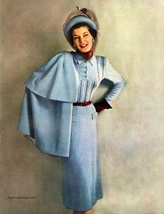~Columbia Hand Knit Fashions 1948, photo by Conant-Bradley 40s 50s blue suit skirt jacket shirt blouse hat gloves color photo print ad fashion style vintage