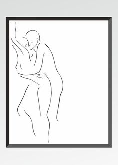 Black and white erotic art print. Lovers illustration. Couple drawing. Sexy bedroom wall art sketch.