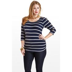 Button-Sleeve Striped Jersey Top $26