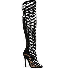 Damen Frauen Ausgeschnittene Spitze Kniehohe Absatz Stiefel Gladiator Sandalen Mit Bändern - Schwarzes Wildleder, Synthetik, 40 - http://on-line-kaufen.de/fashion-thirsty/40-eu-damen-frauen-ausgeschnittene-spitze-absatz-4