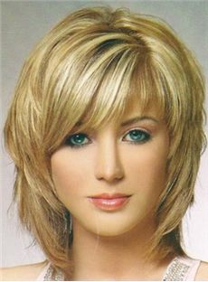 Charming Fluffy Layered Medium Straight Wig Synthetic Hair Capless 12 Inches