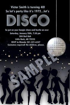 Disco Party Digital Inviation 4x6 by PrepMyParty on Etsy, $10.00