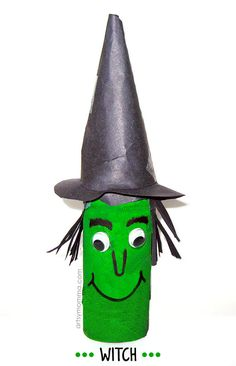How to make a witch from a cardboard tube roll. Kids Halloween Craft Idea
