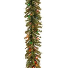 National Tree Norwood Fir Garland with 50 Battery Operated Multicolor 4-Color LED Lights in Re-Shippable Brown Box, 9-Feet by 10-Inch * Click here for more details @