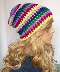 Crochet Slouch Beanie  Eclectic Mix   Slouchy by KnotSewKrazy, $24.99